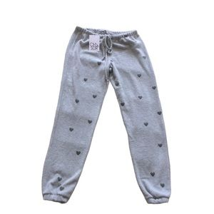 NWT Chaser Grey Joggers with Small Black Hearts XS